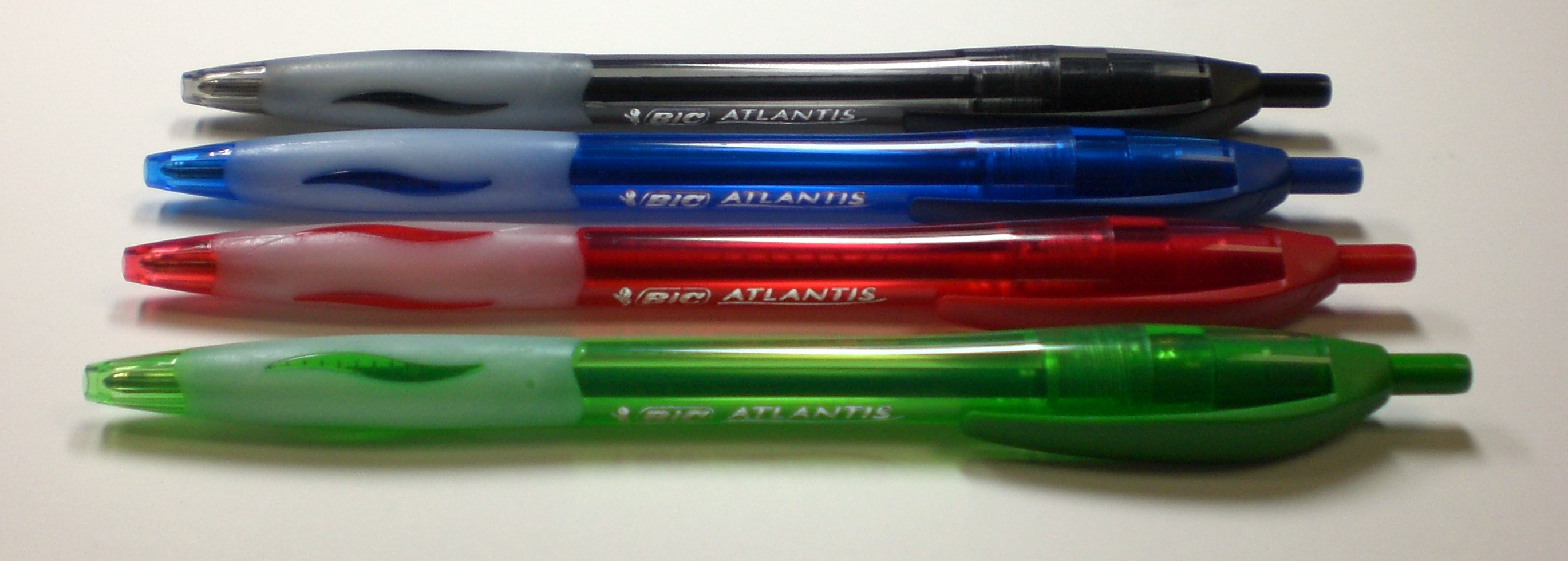bic atlantis retractable ballpoint pens black blue red and green pens 39 n 39 paper. Black Bedroom Furniture Sets. Home Design Ideas