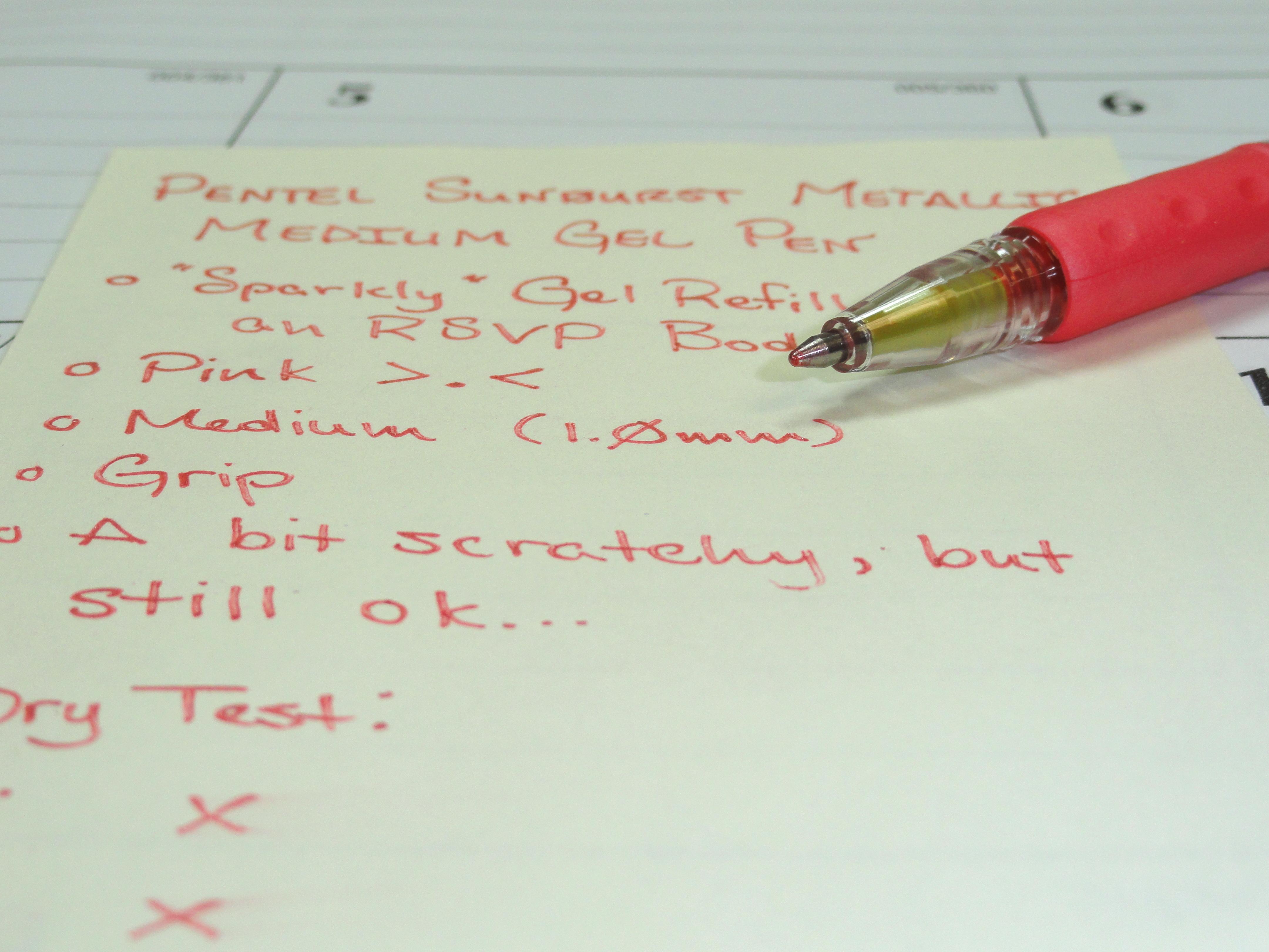 Pentel Sunburst Metallic Pink Medium Gel Pen